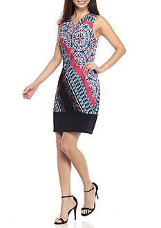 Kim Rogers Petite Size Sleeveless Stripe Border Print Dress