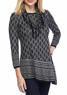 Kim Rogers Asymmetrical Hem Tunic with Snood Jacquard