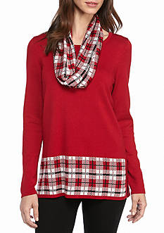 Kim Rogers Straight Hem Tunic With Snood Plaid