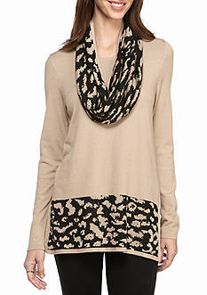 Kim Rogers Straight Hem Tunic with Snood Animal