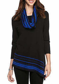 Kim Rogers Asymmetrical Hem Tunic With SNood Colorblock Hem