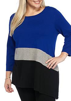 Kim Rogers Plus Size Spliced Color Block Sweater