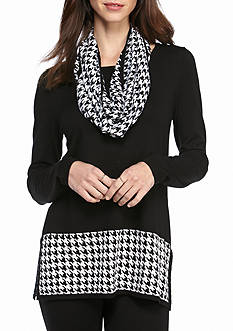 Kim Rogers Straight Hem Tunic With Snood Houndstooth