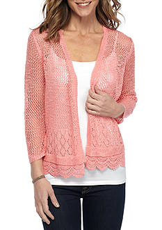 Kim Rogers Three Quarter Sleeve Scalloped Hem Cardigan
