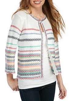 Kim Rogers Petite Size Stripe Cardigan