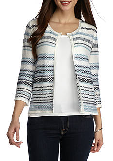 Kim Rogers Petite Size Three Quarter Sleeve Stripe Cardigan