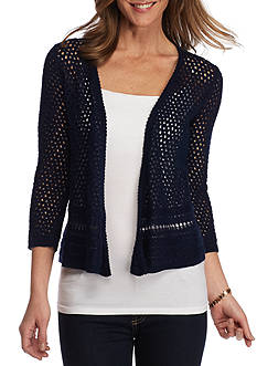 Kim Rogers Three-quater Sleeve Open Front Cardigan