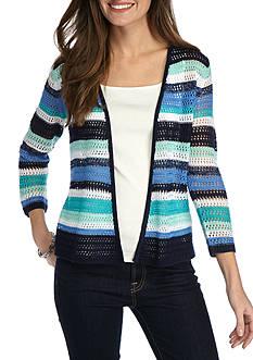 Kim Rogers 3/4 Sleeve Stripe Open Front Cardigan