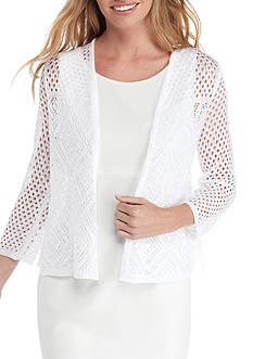 Kim Rogers 3/4 Open Pointelle Cardigan Sweater