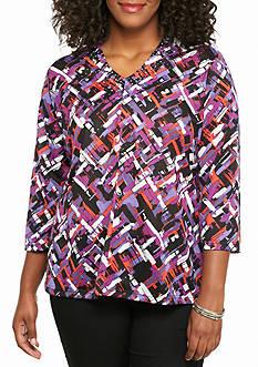 Kim Rogers Plus Size Studded V-Neck Knit Top