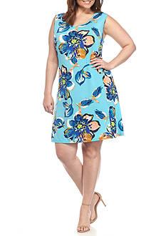 Kim Rogers Plus Size Seam Aloha Garden Dress