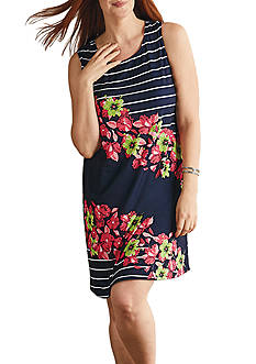 Kim Rogers® Plus Size Boat Neckline Smokey Floral Dress