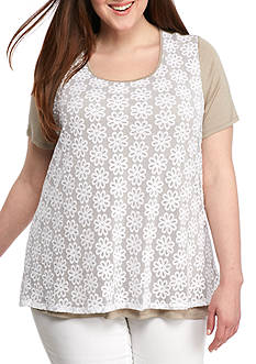 Kim Rogers Plus Size Short-Sleeve Lace Overlay Top