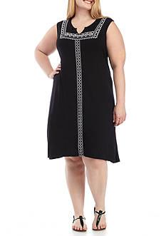Kim Rogers Plus Size Embroidered Yoke Dress
