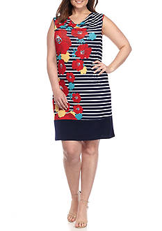 Kim Rogers® Plus Size Sleeveless Stripe Cascading Floral Print Dress
