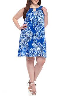 Kim Rogers Plus Size Sleeveless Paisley Print Dress