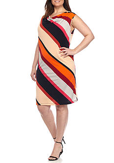 Kim Rogers® Plus Size Diagonal Bold Stripe Drape Neckline Dress