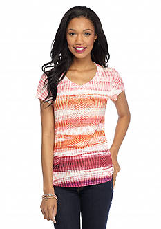 New Directions Weekend Studded Aztec Bling Shirttail Tee