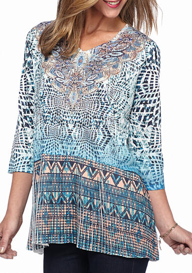 New Directions® Medallion Printed Pleated Top