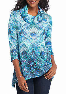 New Directions Studded Peacock Cowl Neck Top