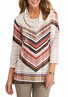 New Directions Mitered Stripe Cowl Neck Top