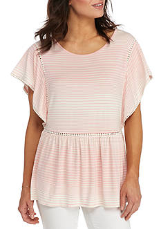 New Directions Striped Ball Trim Top