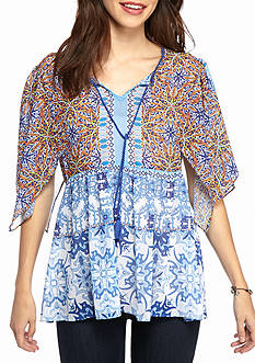 New Directions Peplum Blue Kaleidescope Blouse