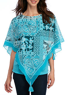 New Directions Scarf Print Poncho