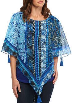 New Directions Mix Tassel Trim Poncho Top