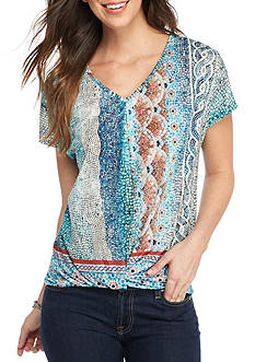 New Directions Embellished Top with Inverted Pleat Front