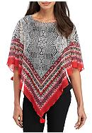 New Directions® Border Print Poncho Blouse