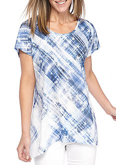 New Directions Embellished Distressed Plaid Sharkbite Top