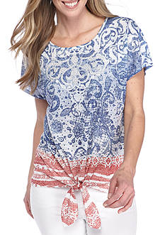 New Directions Paisley Tie Front Embellished Top