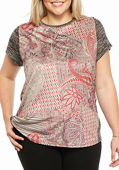 New Directions Plus Size Printed Suede Swing Top
