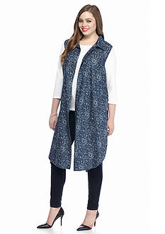 New Directions® Weekend Plus Size Longline Chambray Printed Vest