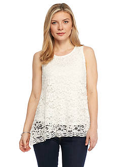 New Directions® Petite Lace Flyaway Back Top
