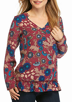 New Directions Petite Size Ruffle Floral Hem Top