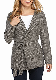 New Directions Petite Tie Waist Sweater Coat