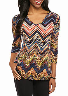 New Directions Petite Faux Suede Multi Chevron Top