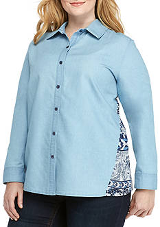 New Directions Plus Size Chambray Printed Back Button Down Top