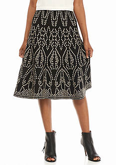 New Directions Petite Printed Knit Jacquard Skirt