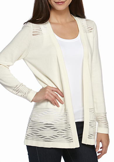 New Directions® Petite Mesh Wave Inset Cardigan