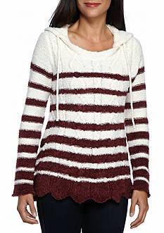 New Directions Petite Size Hooded Stripe Swing Hem Sweater
