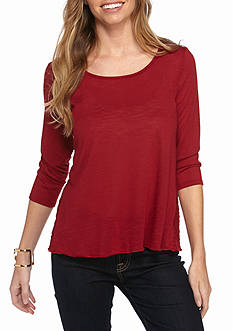 New Directions Petite 3/4 Sleeve Lace Insert Solid Knit Top