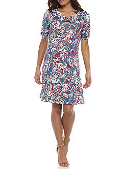 New Directions Petite Paisley Americana Printed Keyhole Dress