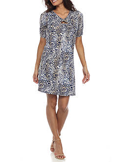 New Directions Petite Paisley Printed Dress