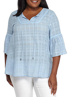 New Directions Plus Size Three-Quarter Bell Sleeve Woven Top