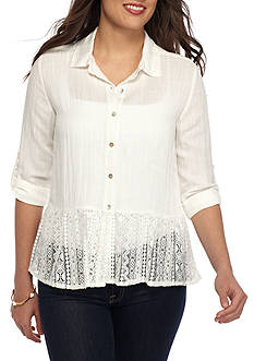 New Directions Petite Button Up Lace Trim Top