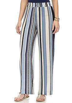 New Directions Petite Vertical Striped Soft Pants