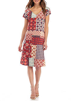 New Directions Petite Size Patchwork Printed Dress